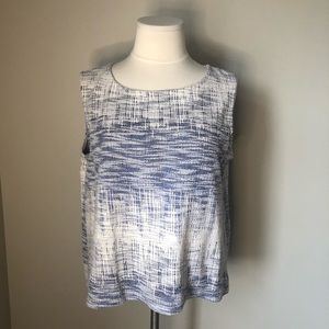 Anthropologie W5 Textured Blue and White Tank